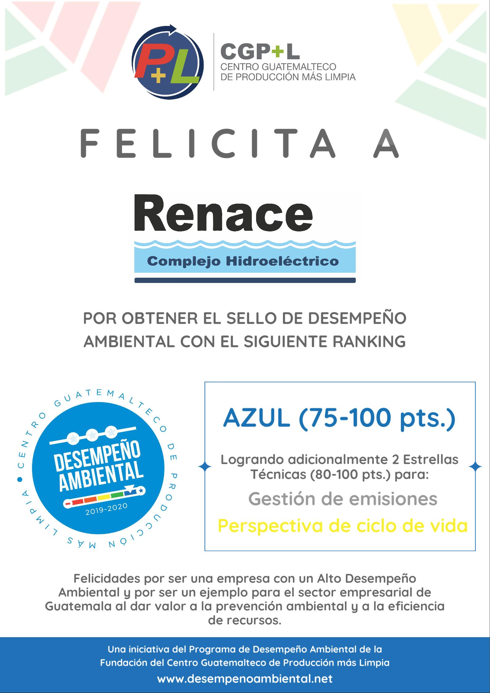 Complejo Hidroeléctrico RENACE Obtiene El Sello De Desempeño Ambiental
