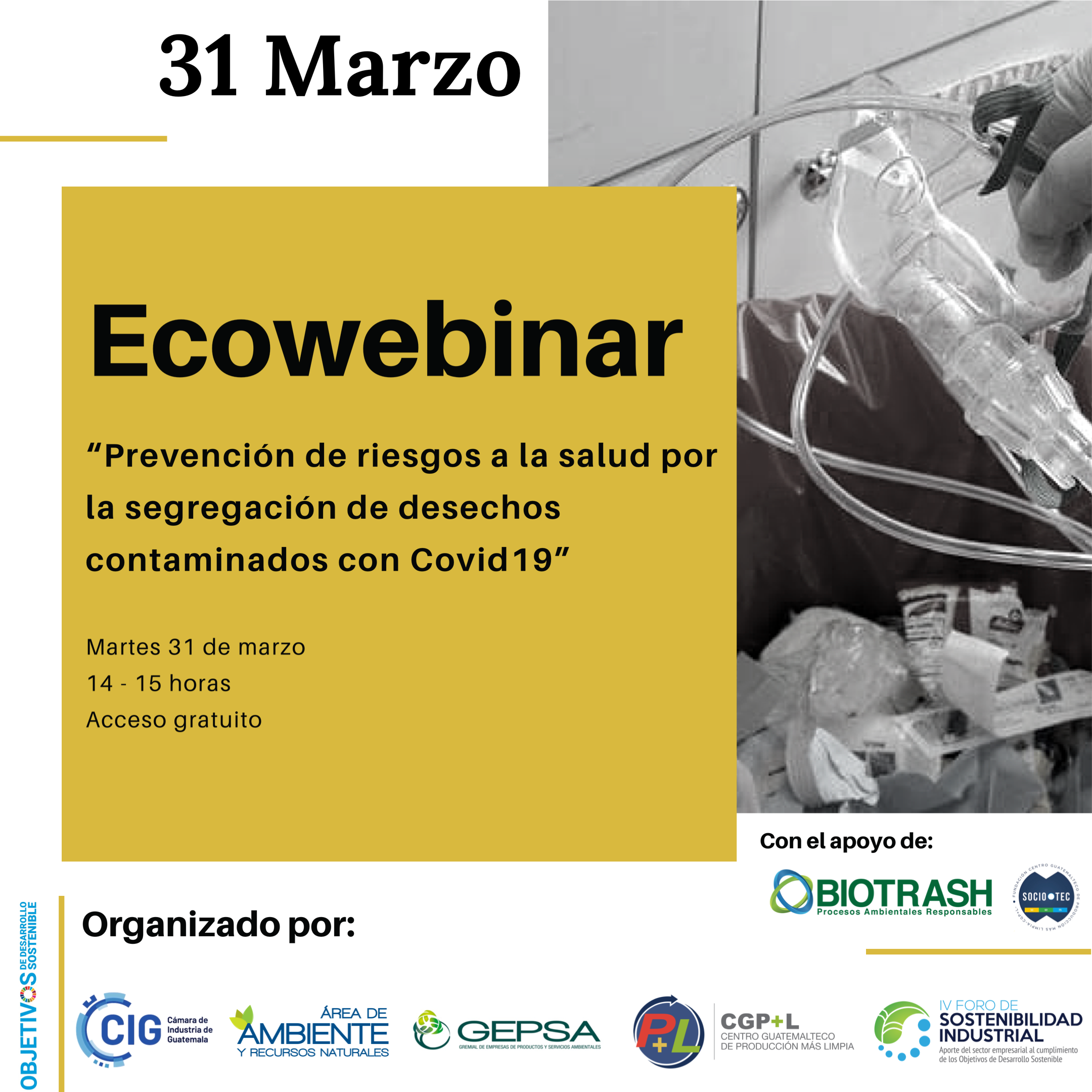 """Ecowebinar """" Prevención De Riesgos A La Salud Por La Segregación De Los Desechos Contaminados Con Covid19"""""""